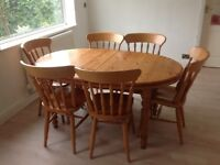 Solid Wood Dining Table and 6 Matching Chairs 6ft - 8ft extendable
