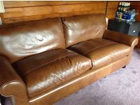 Laura Ashley leather sofas x 2, armchair and snuggler, large sofa used 1 month