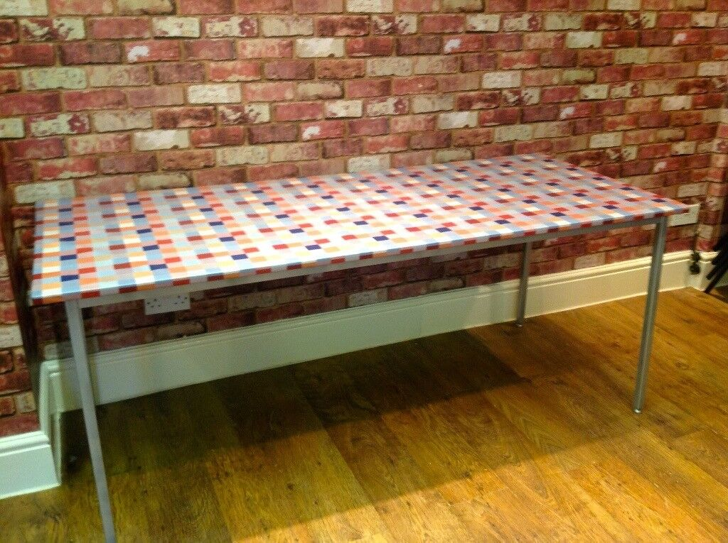 TABLE COVERED IN WASHABLE VINYL - INDUSTRIAL BASE - DISMANTLED - 70 X 30 INCHES - CAN DELIVER