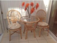 Conservatory furniture. 3 piece suite & matching glass bistro table with 2 dining chairs.