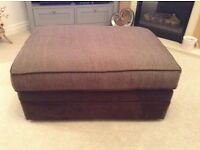 Brown suede/fabric foot stool