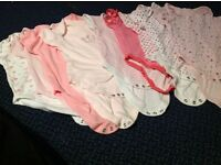 8 assorted baby girl vests 12-18 months various patterns