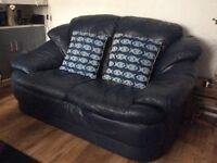 Navy leather two seater sofa