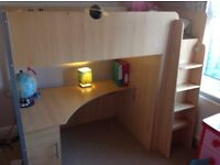 Loft beds, one pine and one white, excellent storage underneath
