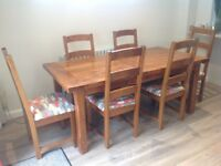 Oak dining table +8 chairs