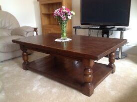 Coffee table: Beautiful solid oak refectory coffee table, reproduction antique.