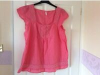 coral/pink cool material gypsy top