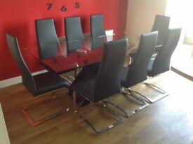 Black Gloss Table with Glass top & 8 Chairs (Barker & Stonehouse)