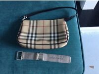 Genuine Burberry small shoulder bag in immaculate condition plus DKNY watch