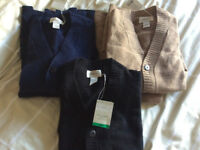 5 Mens Lambswool Cardigans - new with tags