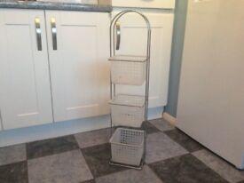 Chrome & plastic 3 basket storage caddy