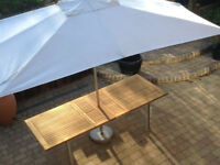 Westminster Teak Large Garden Table and Westminster HUGE Parasol *Delivery may be pos*
