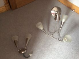 2 x Frosted Glass Ceiling Light Fittings and 2 x Wall Lights