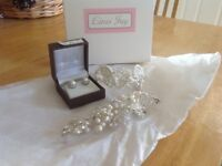 Bridal jewellery- Linzi Jay Pearl, and diamanté clip headpiece, bracelet and earrings