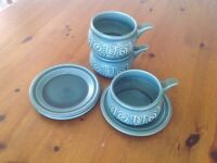 3 retro soup bowls and saucers