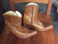 Brown leather heeled ankle boots size 4