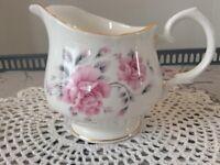 Duchess Bone China Milk Jug. Pink Floral