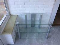 TV Stand. Glass & Silver