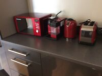 Microwave, kettle, coffee machine, toaster