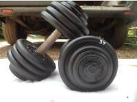 2 x 37kg Bodysculpture Cast Iron Dumbbell Weights