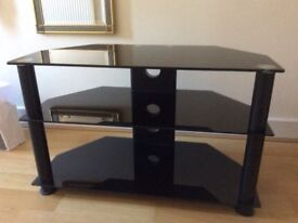 Black glass tv stand as new
