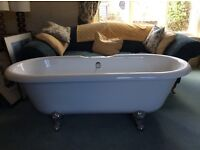 Double ended, acrylic roll top bath with taps & shower attachment