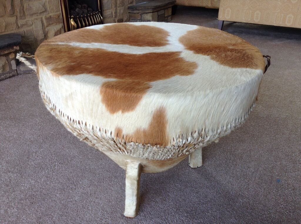 Large Authentic Tribal African Cow Skin Bongo Drum Three