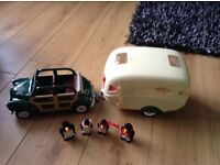 Toys sylvanian families car, caravan and penguin family