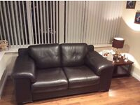 Reids Brown Two Seater Leather Suite