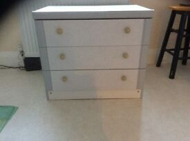 3 drawer chest of drawers, cream/grey, good condition, Christchurch, buyer to collect