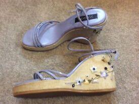 Ladies/girls next wedge heel shoes,worn rarely with matching handbag