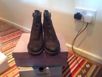 Black leather vagabond boots