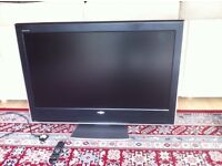 42'' Toshiba REGZA 42WLT66 flat screen LCD TV, with remote control, can be seen working