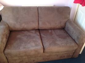 Brown suede effect sofa bed