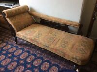 Victorian Chaise longue in lovely condition- newly reupholstered in expensive tapestry material