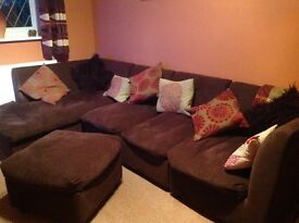 Brown modular sofa in good condition
