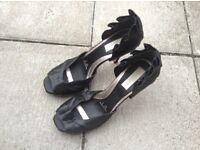 Redherring black silk heels, size 8/42
