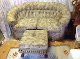 Edwardian Sofa and foot Stool