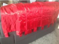 Red tab top silky curtains