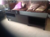 TV and HiFi Storage Unit IKEA Besta Dark Brown/Black with separate full length glass top