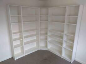 White corner shelf unit