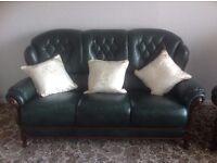 Leather 3 piece suite.
