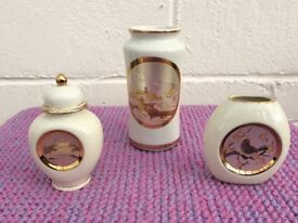 JAPANESE CHOKIN VASES, SET OF 3 UNUSUAL PIECES