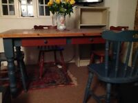 Lovely used pine table with painted base and chairs