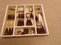 Bronze and rosewood cutlery set