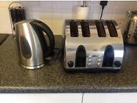 Silver kitchen appliances - kettle and toaster