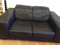 Brown leather two seater sofa - free delivery