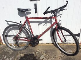"""Men's mountain bike, 18 gears twist grip, 26"""" frame, mudguards f&r, 10 yrs old reasonable condition"""