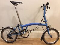 Brompton Folding bike - S version 6 speed blue