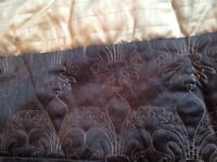 DUNELM BROWN AND GOLD BEDSPREAD